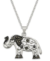 Macy's Marcasite Filigree Elephant Pendant Necklace In Silver Plate