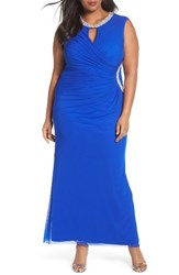 Marina Plus Size Women's Embellished Faux Wrap Gown Royal