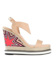 Nicholas Kirkwood Printed Wedge Sandals Nude And Neutrals