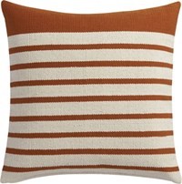 Cb2 Division Rust 20'' Pillow With Feather Insert