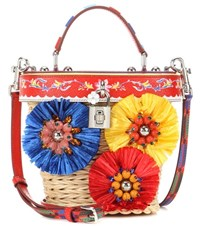 Dolce And Gabbana Embellished Wicker Bucket Bag Multicoloured