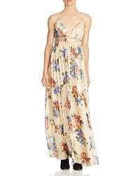 Free People Shadows Printed Silk Blend Gown Ivory Combo