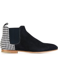 Paul And Joe Houndstooth Panel Ankle Boots Blue