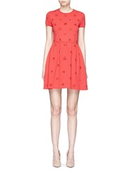 Valentino Crepe Couture Daisy Applique Knit Dress Red