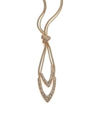 Alexis Bittar Miss Havisham Mosaic Crystal Snake Chain Knotted Lariat Necklace Gold