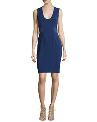 L'agence Sleeveless Side Panel Fitted Dress Navy