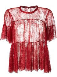Philosophy Di Lorenzo Serafini Ruffled Sheer Blouse Red