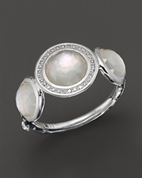 Ippolita Stella Ring In Mother Of Pearl Doublet With Diamonds In Sterling Silver Multi