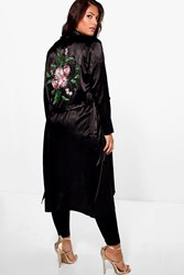 Boohoo Jordyn Satin Embroidered Waterfall Duster Black