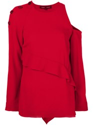 Proenza Schouler Cut Out Shoulder And Frill Detail Sweater Acetate Viscose Red