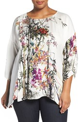 Citron Plus Size Women's Colorblock Floral Print Silk Tunic