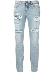 Dolce And Gabbana Ripped Cropped Jeans Blue