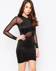 Ax Paris Long Sleeve Bodycon Dress With Mesh Inserts Black
