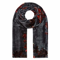 Klements Long Velvet Scarf In Gothic Floral Print Petrol Grey