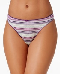 Charter Club Pretty Cotton Thong Only At Macy's Grey Plum Stripe