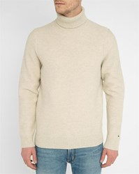 Tommy Hilfiger White Cream Lambswool Polo Neck Sweater Beige