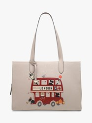 Radley Party Bus Leather Shoulder Bag Dove Grey