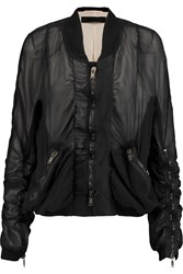 Haider Ackermann Ruched Silk Chiffon Bomber Jacket Black
