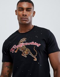 Good For Nothing Muscle T Shirt With Tiger Logo Embroidery Black