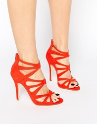 London Rebel Strappy Heeled Sandals Orange