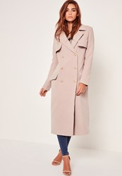 Missguided Longline Faux Wool Military Coat Nude