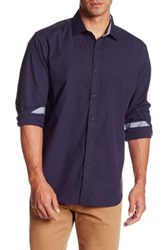 Bristol And Bull Long Sleeve Classic Fit Gingham Print Sport Shirt Purple