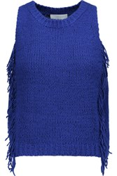 3.1 Phillip Lim Cropped Fringed Knitted Top Bright Blue