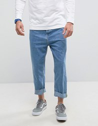 Bershka Loose Fit Jeans In Mid Blue Wash Blue