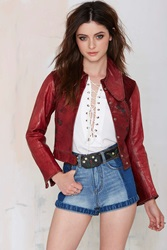Nasty Gal Vintage Dusty Rose Cropped Leather Jacket