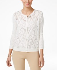 August Silk Lace Front Cardigan White Lace