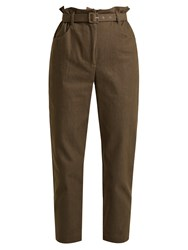 Isa Arfen Paperbag Waist Broderie Anglaise Trimmed Trousers Khaki