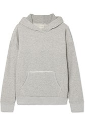 Simon Miller Boise Frayed French Cotton Terry Hooded Sweatshirt Gray