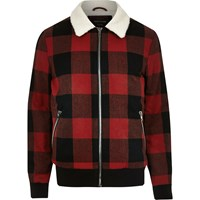 River Island Mens Red Check Fleece Collar Jacket