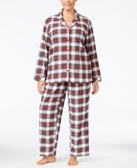 Charter Club Plus Size Printed Flannel Pajama Set Only At Macy's Stewart Plaid