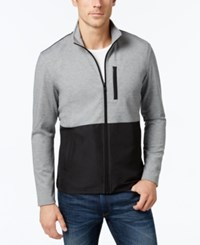 Alfani Men's Big And Tall Colorblocked Knit Jacket Only At Macy's Night Grey Heather