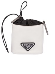 Prada Leather Pouch Trick Bag White