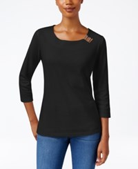 Karen Scott Three Quarter Sleeve Hardware Embellished Top Only At Macy's Deep Black