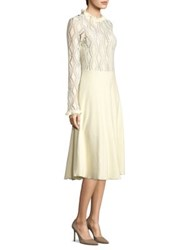 See By Chloe Lacy Jersey Long Sleeve Dress Winter White