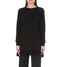 Undercover Tassled Longline Cotton Jersey Sweatshirt Black