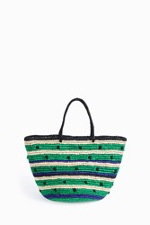 Sensi Studio Stripes And Dots Maxi Tote Green