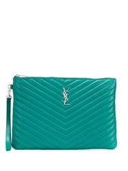 Saint Laurent Jolie Monogram Clutch Bag Green