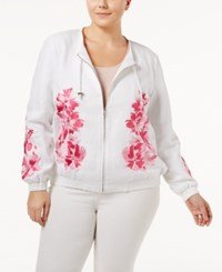 Inc International Concepts Plus Size Embroidered Jacket Only At Macy's Intense Pink