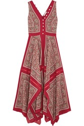 Altuzarra Clemmie Paisley Print Silk Maxi Dress Red