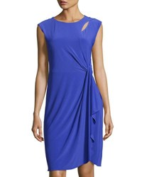 Cynthia Steffe Sleeveless Side Drape Knit Dress Navy