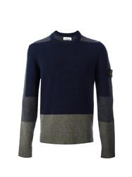 Stone Island Colour Block Knitted Sweater Blue