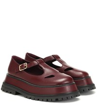 Burberry Aldwych Leather Mary Jane Loafers Red