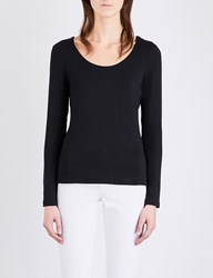 The White Company Essential Double Layer Cotton Jersey T Shirt Black