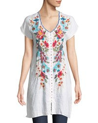 Johnny Was Vernazza Embroidered Tunic Dress Petite White
