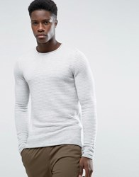 Selected Rib Crew Neck Sweater White