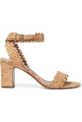 Tabitha Simmons Leticia Perforated Cork And Leather Sandals Beige